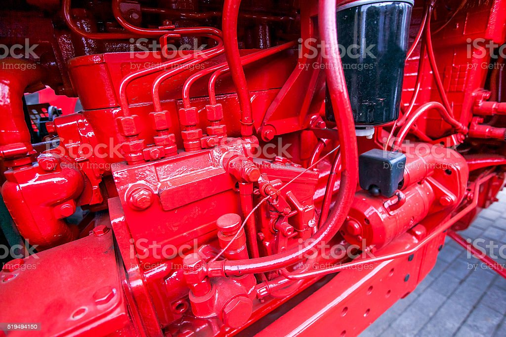Internal combustion engine for a tractor at factory stock photo