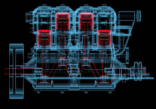 Internal combustion engine (3D xray red and blue transparent) Internal combustion engine (3D xray red and blue transparent isolated on black background) piston stock pictures, royalty-free photos & images