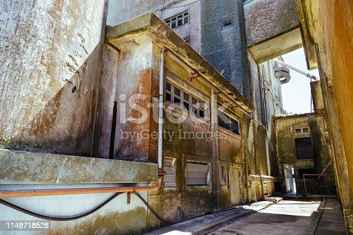Internal corridors of silos and abandoned warehouses with tower