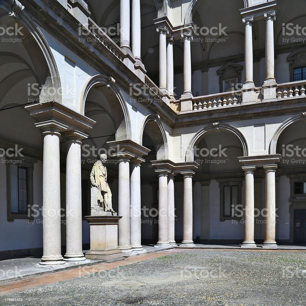 Internal courtyard view of Pinacoteca di Brera, Milan stock photo