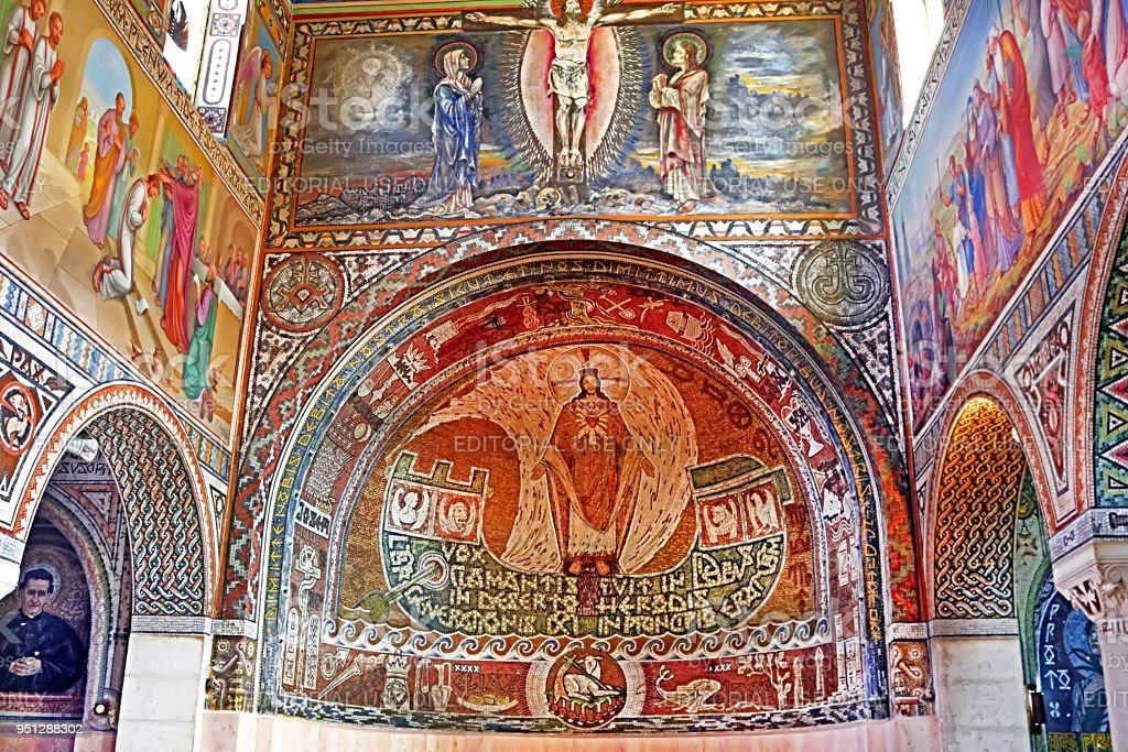 Internal painting on wall of church of the First Martyr St. Stephen in the monastery Beit Jamal stock photo
