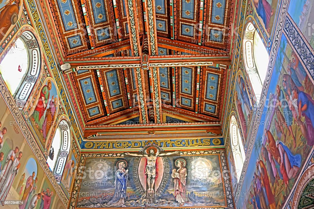 Internal painting on walls and ceiling of church of the First Martyr St. Stephen in the monastery Beit Jamal stock photo