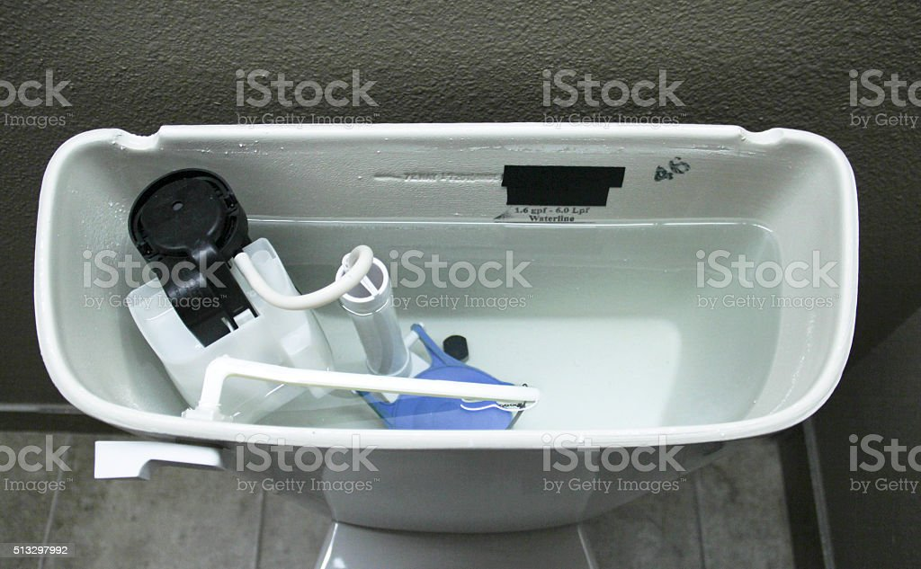Internal Plumbing of a Modern Toilet stock photo