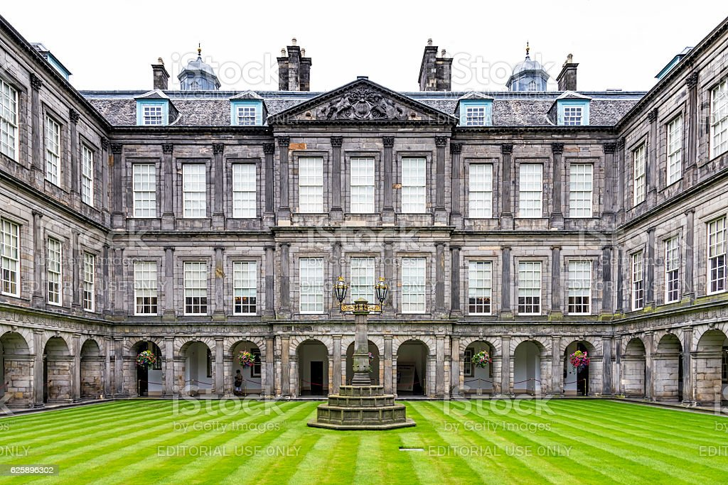 Internal quadrangle of Holyrood Palace in Edinburgh stock photo