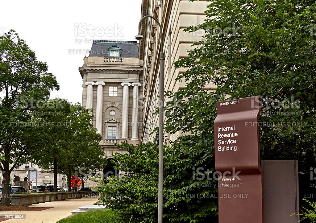 Internal Revenue Building Sign stock photo