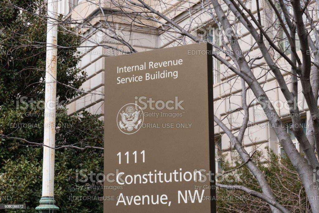 Internal Revenue Serice Sign stock photo