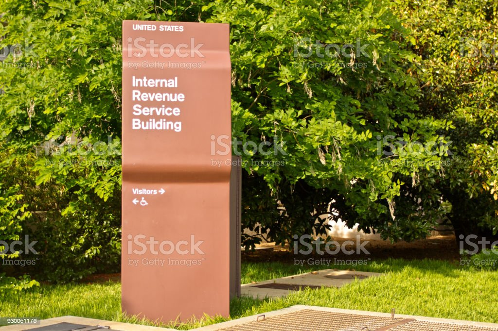 Internal Revenue Service Building sign IRS stock photo