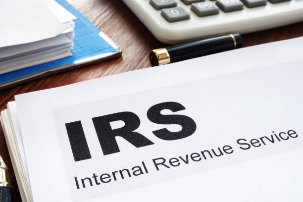 IRS Internal Revenue Service documents and folder. stock photo