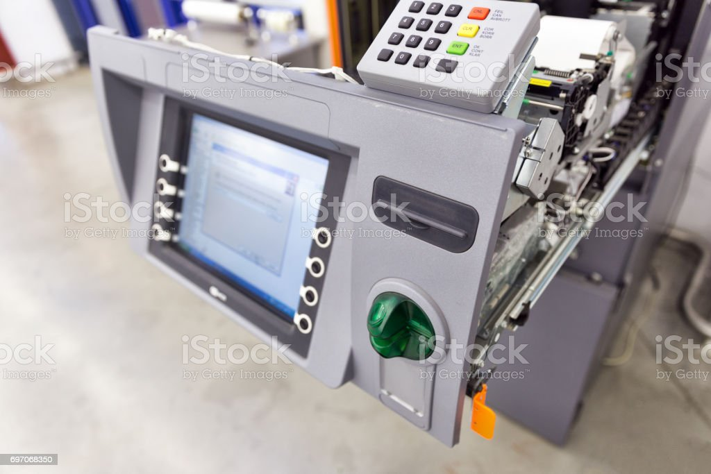 Internal structure of the ATM. Receipt printer stock photo