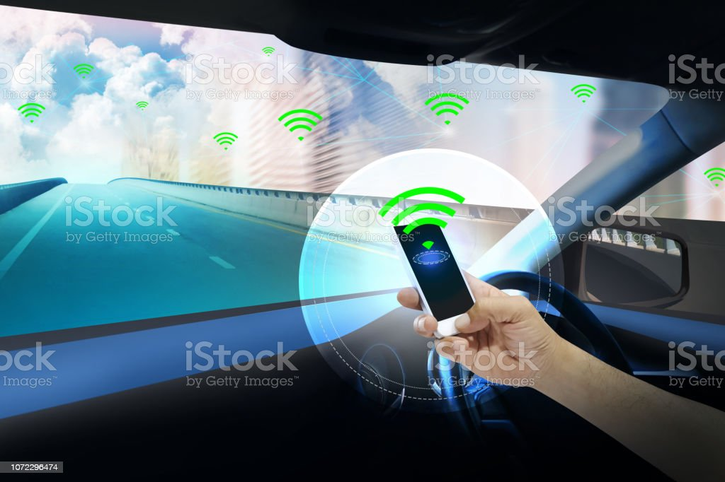 Internal view and automatic self command driving  with smartphone,Electric smart car technology and Empty space for text. stock photo