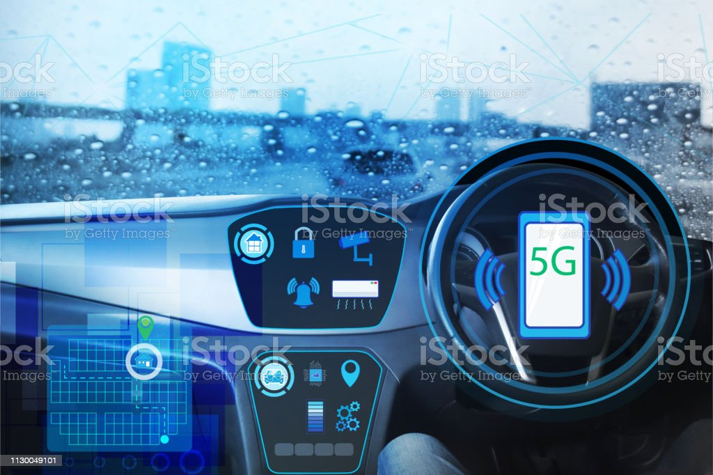 Internal view and automatic self command driving with smartphone connection smart homes control,Electric smart car technology and right empty space for text. stock photo