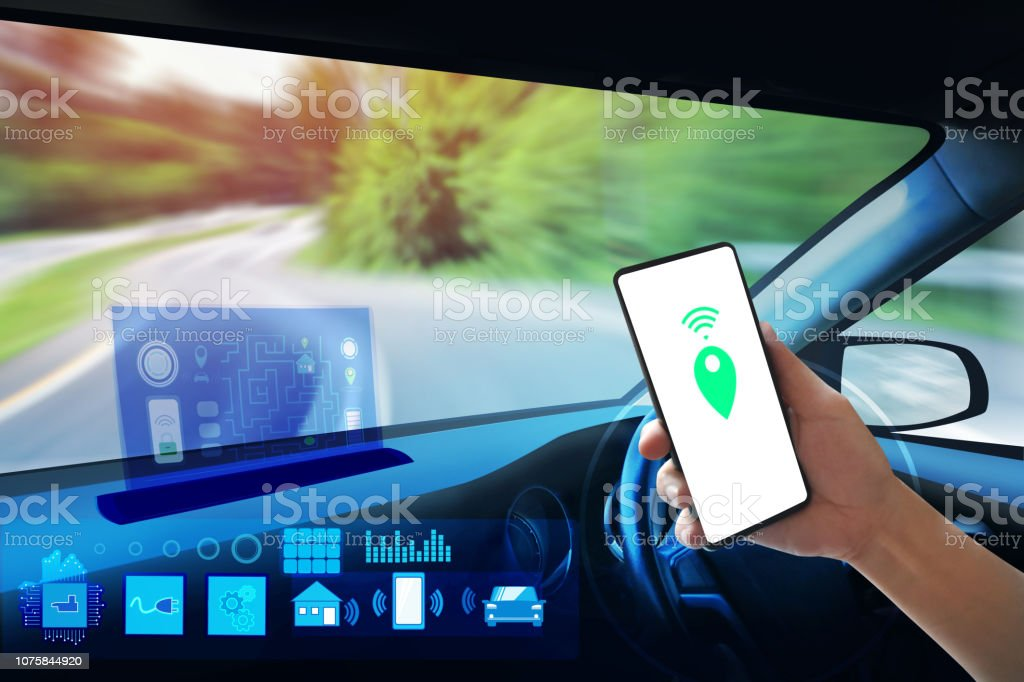Internal view, Display screen and automatic self driving. Electric smart car technology and empty space for text. stock photo