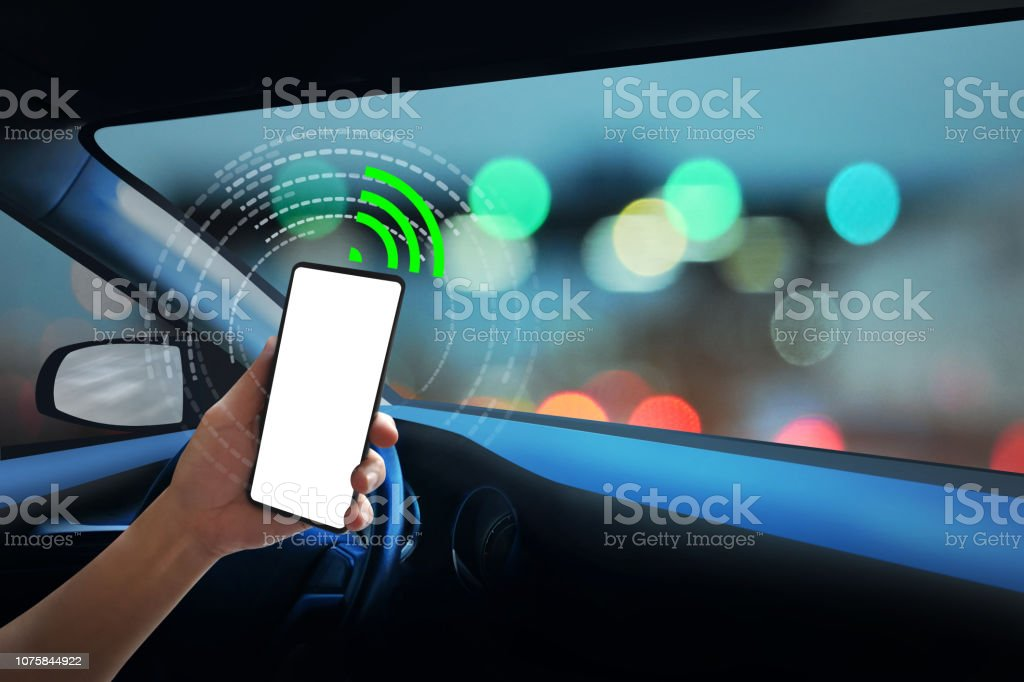 Internal view, Display screen and automatic self driving ,Electric smart car technology and empty space for text. stock photo