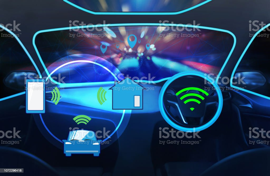 Internal view, Display screen and automatic self driving.Electric smart car technology. stock photo