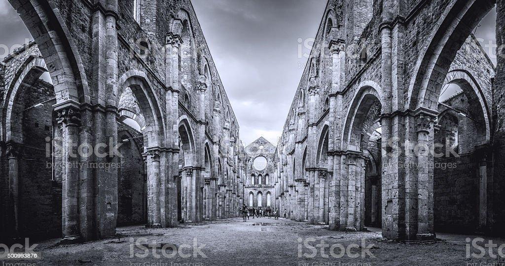 Internal view of the ruins of San Galgano Abbey stock photo