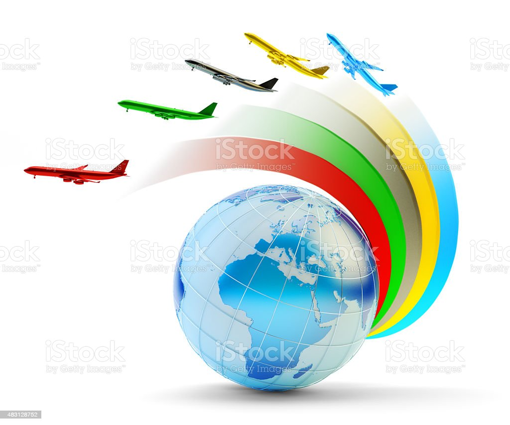 International airlines, air travel and global transportation concept stock photo