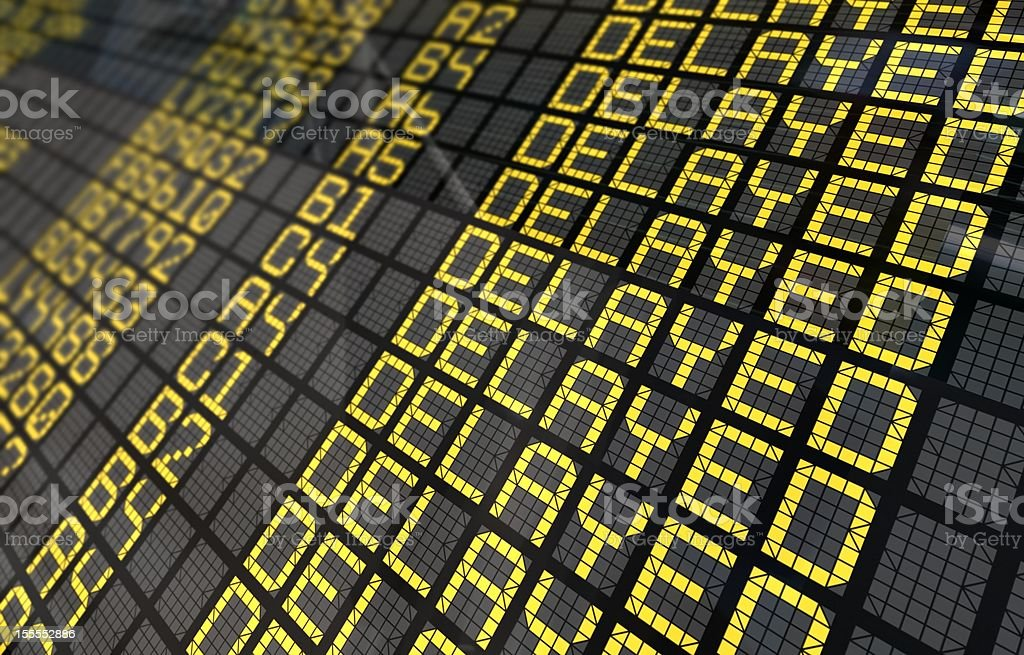 International Airport Board Close-Up with Delayed Flights stock photo