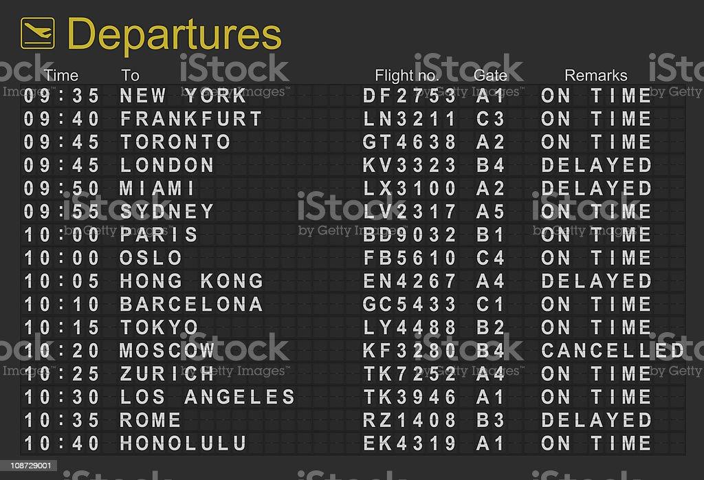 International Airport Departures Board stock photo