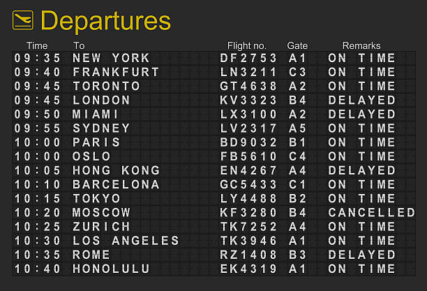 international airport departures board - arrival stock photos and pictures