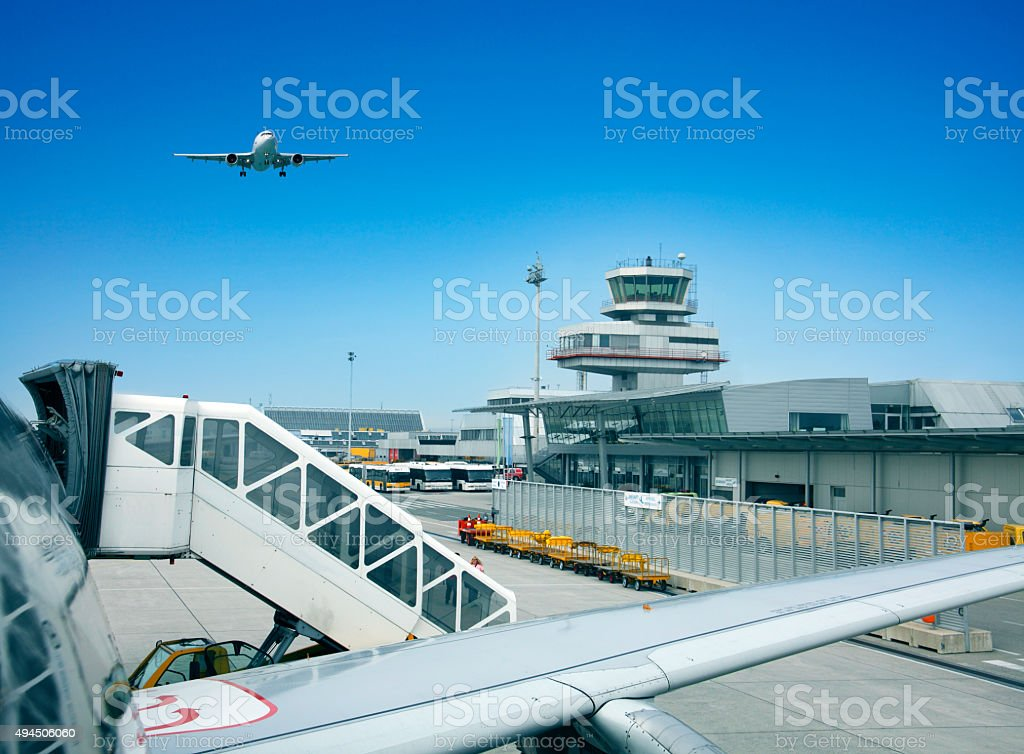 International airport in Linz (LNZ) Austria stock photo