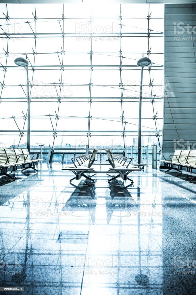 International airport waiting lobby stock photo