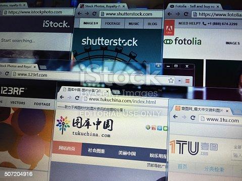 Beijing, China - January 28, 2016: International and china mainly microstock photo websites are including istock, shutterstock, fotolia, 123rf, tukuchina, 1tu, etc.
