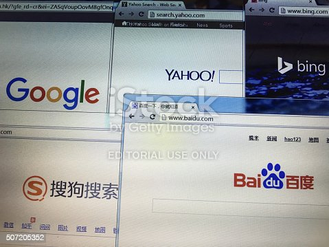 Beijing, China - January 28, 2016: Fiver international and Chinese  popular search engines on screen, which include Google, Bing and Yahoo, Baidu, sogou.