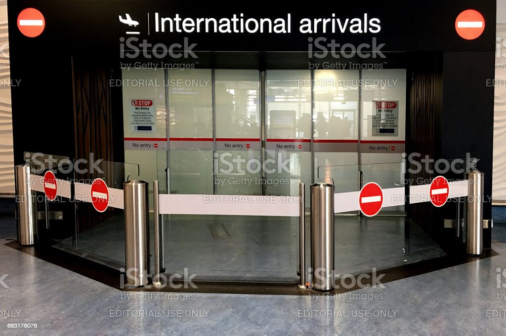 International arrivals gate at Auckland International Airport stock photo