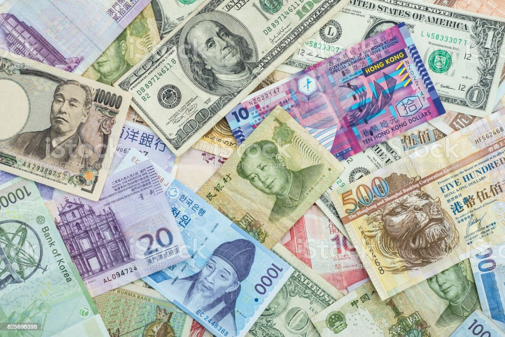 International banknote background for global currencies concept for money exchange business stock photo