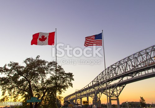 The twin spans of the Blue Water Bridges international crossing between the cities of Port Huron, Michigan and Sarnia, Ontario is one of the busiest border crossings between Canada and the United States.