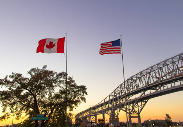 International Blue Water Bridge Crossing Between Port Huron Michigan And Sarnia Ontario stock photo