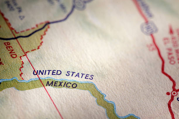 International Border Close up of a map showing the U.S. and Mexican border. geographical border stock pictures, royalty-free photos & images