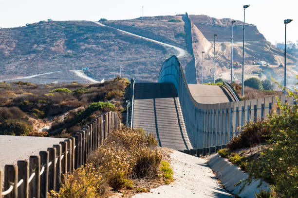 International Border Wall Between San Diego, California and Tijuana, Mexico stock photo
