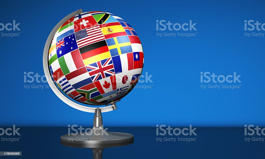 International Business School Globe World Flags stock photo