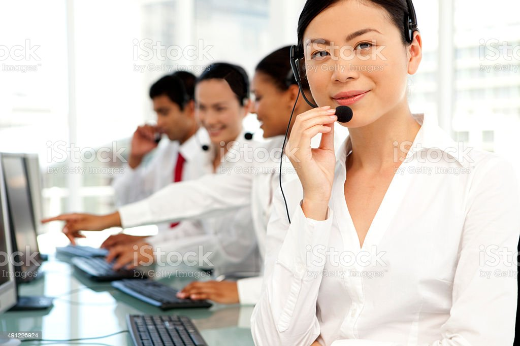 International Call Center operators stock photo