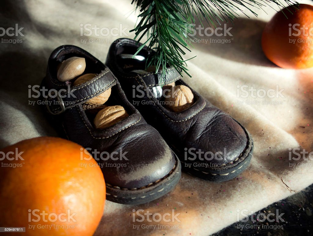 International Christmas Tradition: Shoes Filled with Nuts stock photo