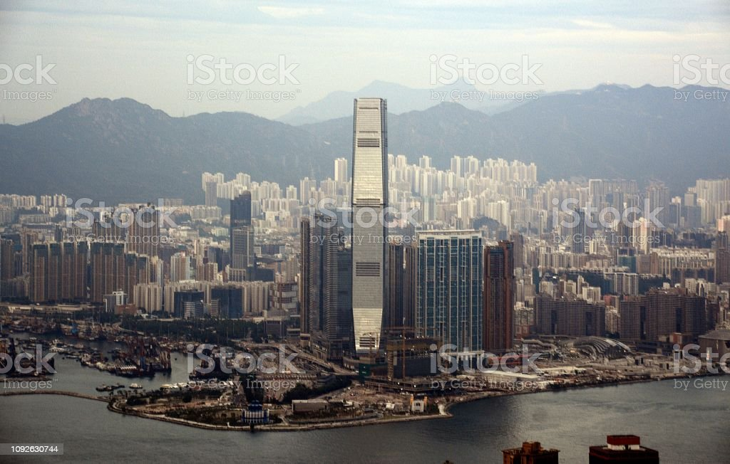 View of the ICC skyscraper, the tallest building in Hong Kong height...
