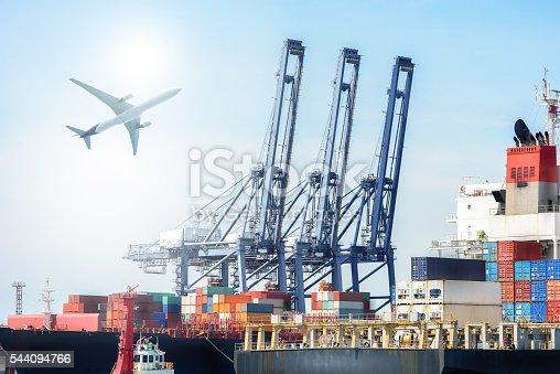 638310484 istock photo International Container Cargo ship and Cargo plane 544094766