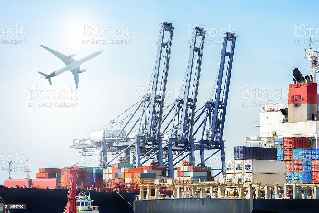 International Container Cargo ship and Cargo plane stock photo
