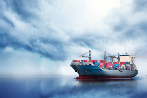 International Container Cargo ship in the ocean, Freight Transportation, Nautical Vessel stock photo