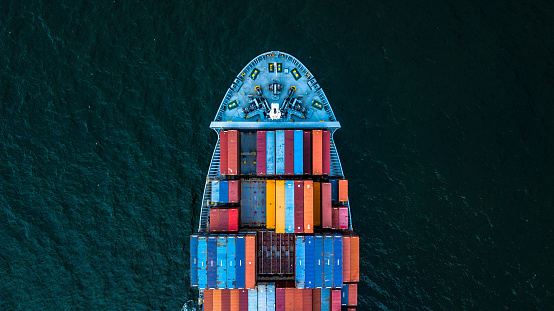 International Container Cargo Ship Stock Photo - Download Image Now