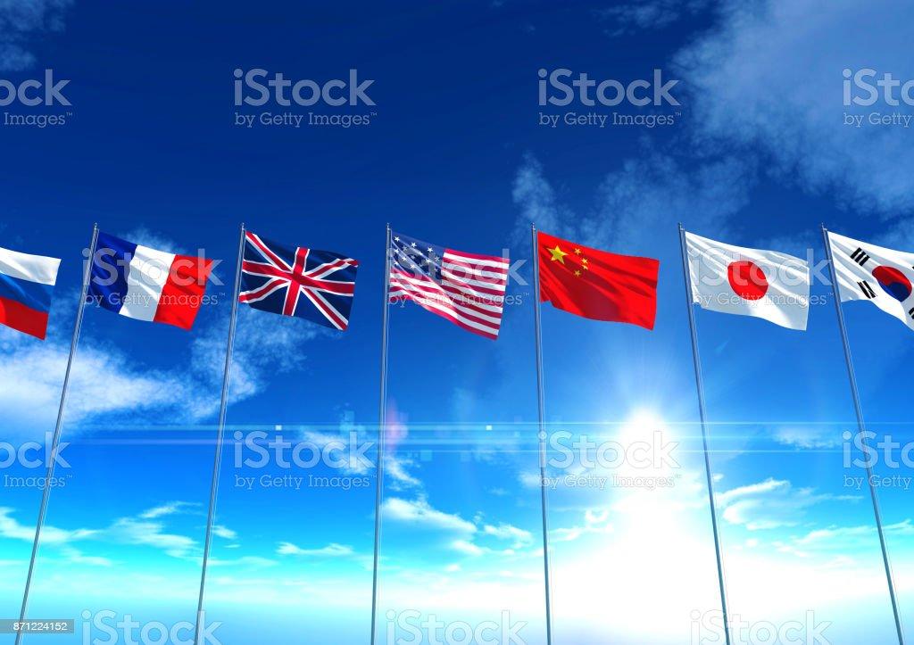 Internationalen Länderflaggen, 3D rendering – Foto