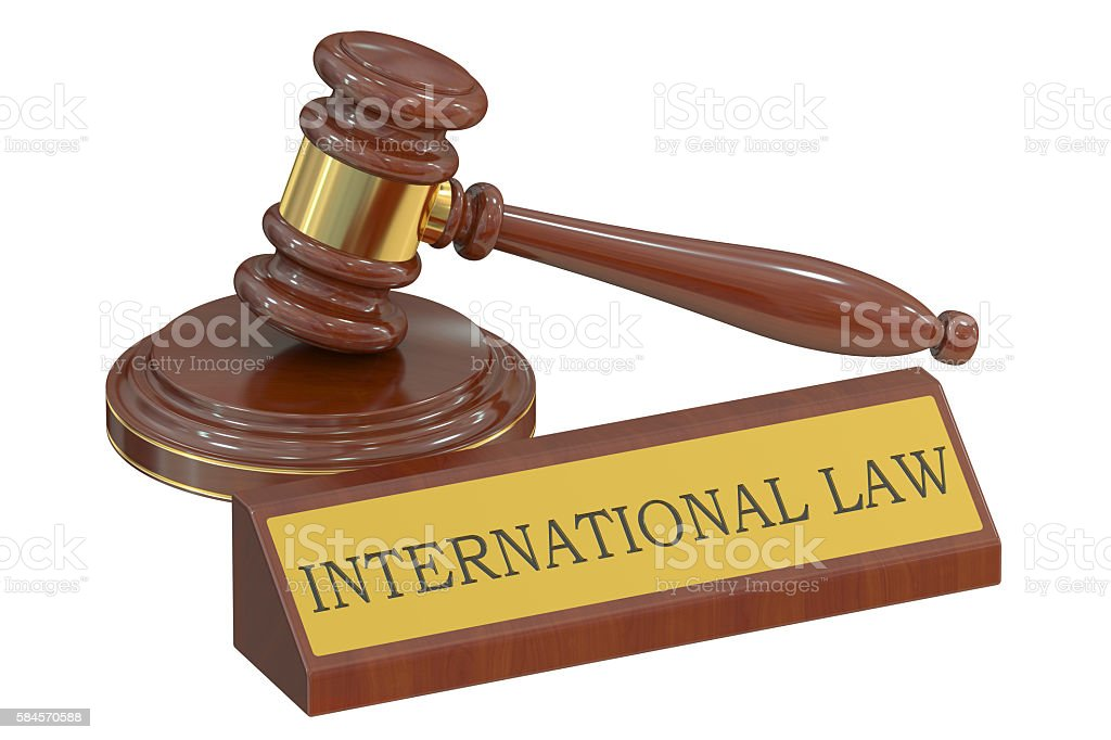 international court concept with gavel. 3D rendering stock photo