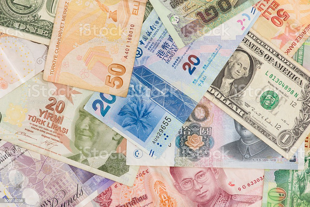 International Currency Bank Notes stock photo