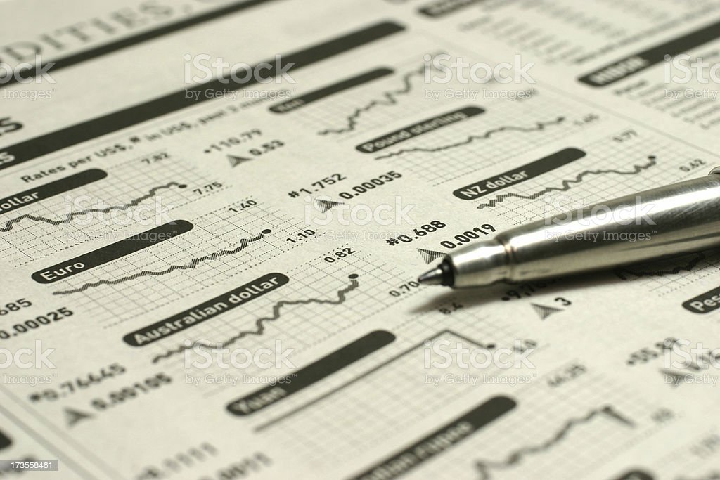 International Currency Charts royalty-free stock photo