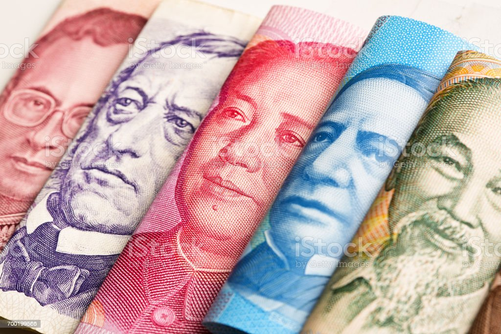 International Currency Exchange Showing World Leader stock photo