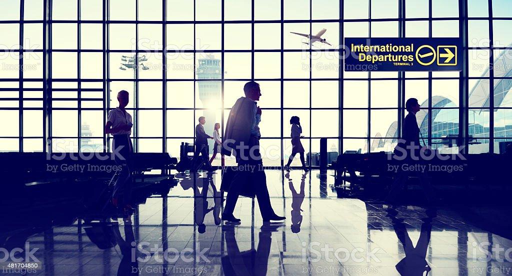 International Departtures Terminal Business Travel Transportatio stock photo