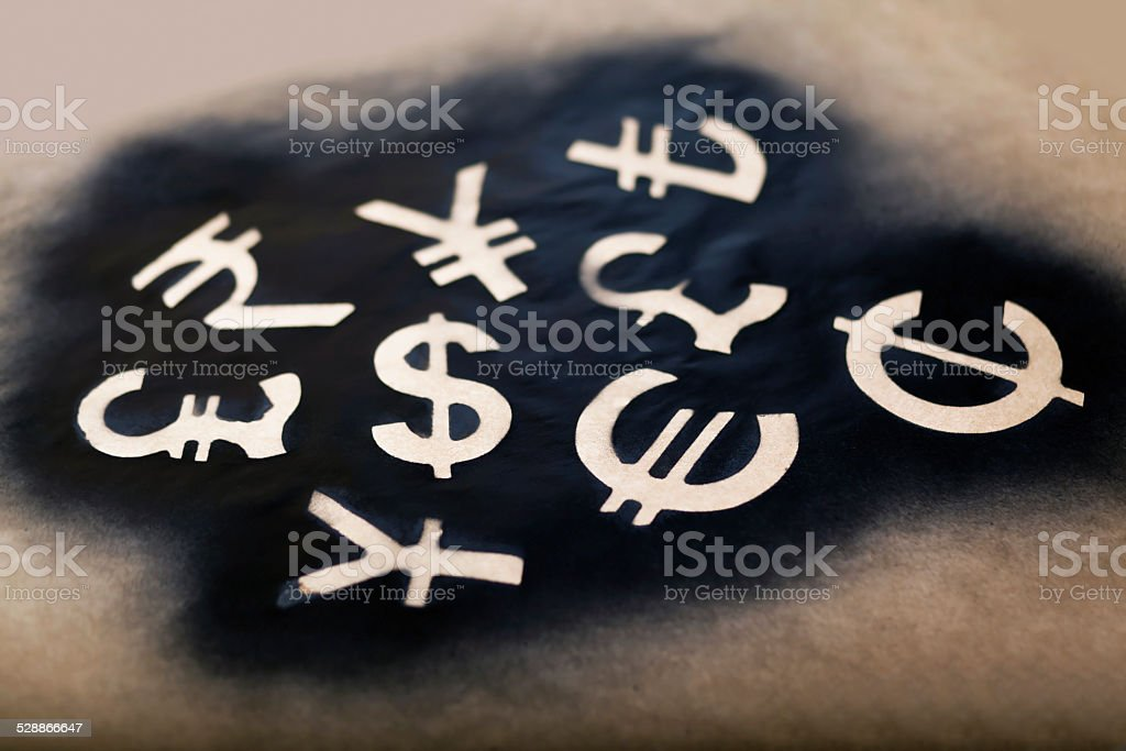 International economy currency units stock photo