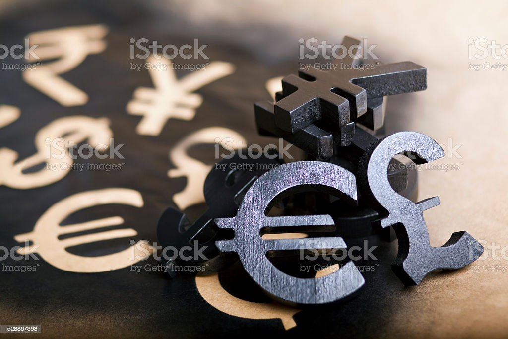 International economy currency units stock photo