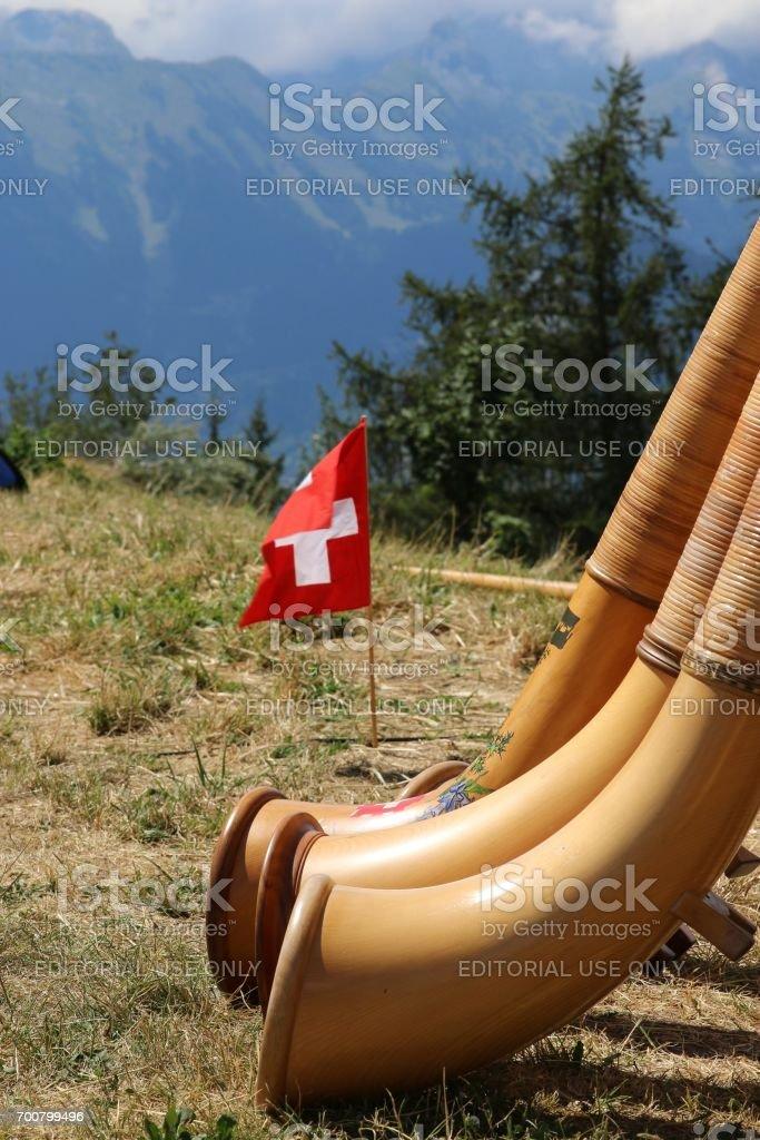 International Festival of Alphorn in Nendaz stock photo